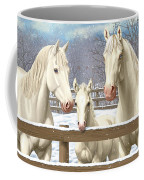 White Quarter Horses In Snow Coffee Mug