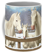White Quarter Horses In Snow Coffee Mug by Crista Forest