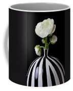 White Ranunculus In Black And White Vase Coffee Mug by Garry Gay