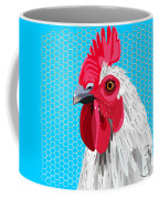 White Rooster With Blue Background Coffee Mug