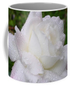 White Rose In Rain Coffee Mug