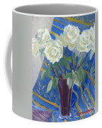 White Roses With Red And Blue Coffee Mug