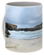 White Sand Beach And Large Rock Formations In Aruba Coffee Mug