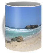 White Sand Beaches, Waves And A Rock Formation In Aruba Coffee Mug