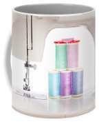 White Sewing Machine And Colorful Threads Coffee Mug