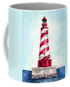White Shoal Lighthouse Michigan Nautical Light House Red And White Candycane Stripes Coffee Mug