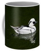 White Smew  Duck On Silver Pond Coffee Mug