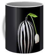 White Tulip In Striped Vase Coffee Mug