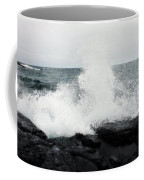 White Waves Black Rocks Coffee Mug