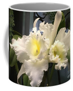White With Yellow Orchids  Coffee Mug