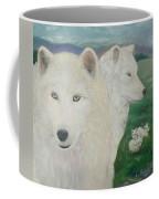 White Wolves Guarding Their Pups Coffee Mug