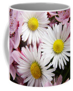 White Yellow Daisy Flowers Art Prints Pink Blossoms Coffee Mug