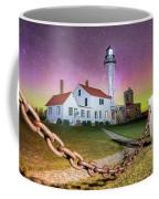 Whitefish Point Lighthouse   Northern Lights -0524 Coffee Mug
