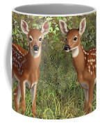 Whitetail Deer Twin Fawns Coffee Mug by Crista Forest