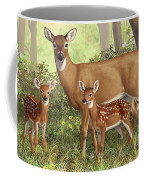 Whitetail Doe And Fawns - Mom's Little Spring Blossoms Coffee Mug by Crista Forest