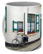 Whitewashed Brick House With Green Trimmed Shutters In Bruges Coffee Mug