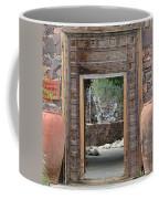Wider Shot Stone Garden Wall And Clay Urns Coffee Mug