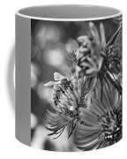 Wild Aster And Honey Bee Bw Coffee Mug