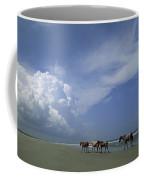 Wild Horses Roaming A Georgia Coast Coffee Mug by Michael Melford