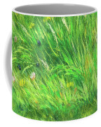 Wild Meadow Grass Structure In Bright Green Tones, Painting Detail. Coffee Mug