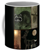 Wild Racoon And Deer Patchwork Coffee Mug