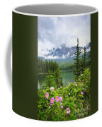 Wild Roses And Mountain Lake In Jasper National Park Coffee Mug