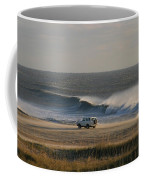 Wind, Waves And Fisherman In An Suv Coffee Mug by Skip Brown