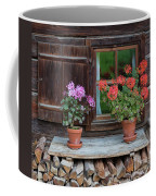Window And Geraniums Coffee Mug