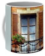 Window Shutters And Flowers I Coffee Mug