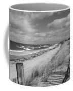 Winter Beach View - Black And White Coffee Mug