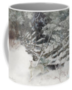 Winter Hare At The Fence Coffee Mug