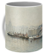 Winter Landscape Over Skeppsbron, Stockholm Coffee Mug