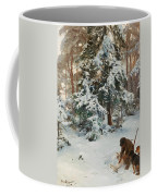 Winter Landscape With Hunters And Dogs Coffee Mug