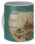Winter Landscape With Skaters And A Farm House Coffee Mug