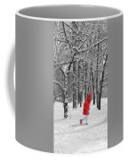 Winter Landscape With Walking Gir In Red. Blac White Concept Gra Coffee Mug