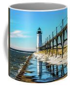 Winter Reflection At Manistee Light Coffee Mug