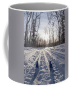Winter Sport X-country Skis In Sunny Forest Tracks Coffee Mug