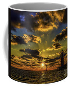 Winter Sunset At Muskegon Channel Light Coffee Mug