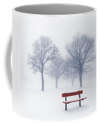 Winter Trees And Bench In Fog Coffee Mug by Elena Elisseeva