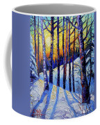 Winter Woodland Sunset Modern Impressionism Palette Knife Oil Painting Coffee Mug