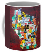 Wisconsin Counties Vintage Recycled License Plate Map Art On Red Barn Wood Coffee Mug