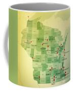 Wisconsin Map Square Cities Straight Pin Vintage Coffee Mug