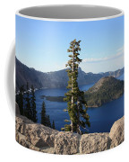 Wizard Island With Rock Fence At Crater Lake Coffee Mug
