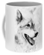 Wolf Smiling Black And White Coffee Mug