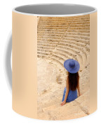Woman At Greco-roman Theatre At Kourion Archaeological Site In C Coffee Mug