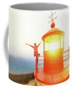 Woman At Nazare Lighthouse Coffee Mug