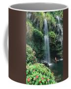 Woman Beneath Waterfall Coffee Mug