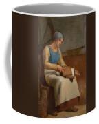 Woman Carding Wool Coffee Mug
