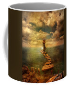 Woman Crossing The Sea On Stepping Stones Coffee Mug by Jill Battaglia