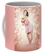 Woman Holding Flowers In Hands. Spring Celebration Coffee Mug